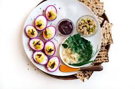 sadar plate vegetarian passover seder plate with beet pickled deviled eggs