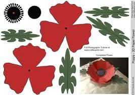 poppy 3d paper flower on craftsuprint designed by sandie burchell