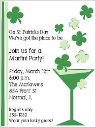 martini st patricks day invitations