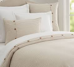 Tan Duvet Cover King Wheaton Stripe Duvet Cover U0026 Sham Flax Pottery Barn