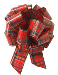 5 x tartan pull bows 50mm gift basket