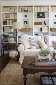 Pottery Barn Seagrass Sectional Cozy Cottage Living Room Wall To Wall Bookshelves Pottery Barn