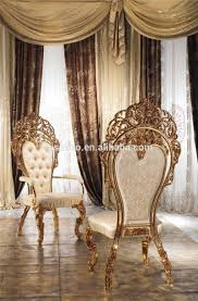 luxury italian design style brass and wood dining room furniture