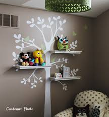 Wall Decor For Baby Room Wall Decals Baby Nursery Decor Shelving Tree Decal With Birds