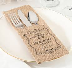 wedding silverware burlap silverware holders personalized