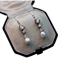 pearl and diamond drop earrings antique pearl and diamond drop earrings romanov russia