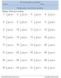 Multiplying Fractions By Whole Numbers Worksheets Math Free Printable Worksheets For 4th Grade Fractions 4 4th