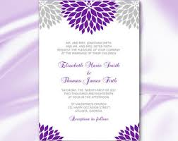Purple And Silver Wedding Invitations Purple And Silver Wedding Invitation Template Diy Printable