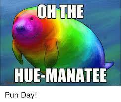 Hue Meme - oh the hue manatee pun day meme on me me