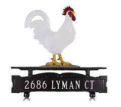 rooster ornament curbside mailbox address plaque