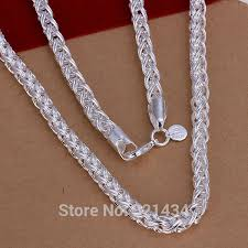 cheap silver chain necklace images Wholesale fashion high quality brand new womens mens male female jpg