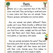 plants life science reading comprehension worksheet