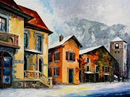 switzerland town in the alps u2014 palette knife oil painting on