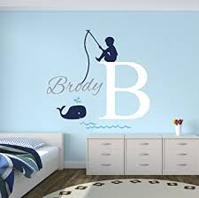 Wall Decals For Baby Nursery Fishing Boy Personalized Name Wall Decal Baby Boy