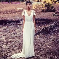 2016 vintage v neck wedding dress long boho hippie chiffon a line