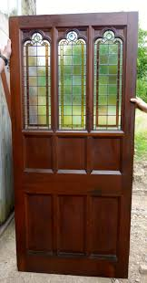 large victorian pitch pine door with stained glass panels room