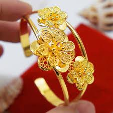 Bracelet Fleur Mariage Online Get Cheap Solide Or Bracelet Manchette Aliexpress Com