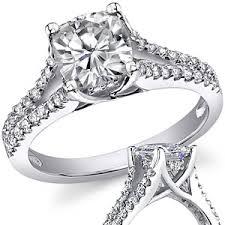 split band engagement rings cushion split shank trellis moissanite engagement ring