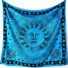 Sun And Moon Bedding Large Cotton Fabric Blue Sun Moon Wall Tapestry Hippie Bedspread