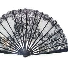 lace fans vintage large folding fan black silk lace fan painted
