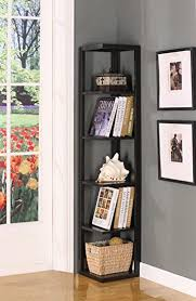 Espresso Corner Bookcase King S Brand Bk08 Wood Wall Corner 5 Tier Bookshelf