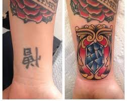 kanji coverup with traditional gem by michael lee suarez tattoos