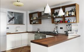 Kitchens With Dark Wood Cabinets Modern Kitchen With White Cabinets And Dark Wooden Worktop