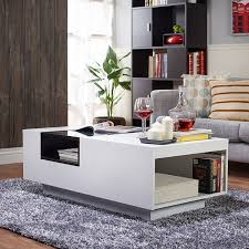 Wooden Center Table Glass Top Amazon Com Iohomes Dekker Modern Coffee Table White Kitchen