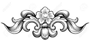 vintage baroque floral scroll foliage ornament filigree engraving