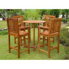 Tall Patio Set by Piece Wood Bar Height Patio Dining Furniture Set Product Details