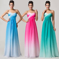 long strapless chiffon bridesmaid masquerade gown evening party