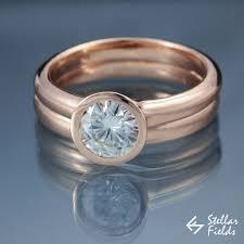 engagement rings and wedding band sets moissanite bridal ring set peekaboo bezel engagement ring wedding