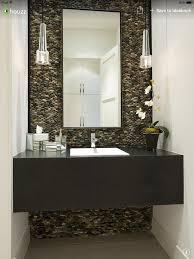 Powder Room Reno Half Bath Stacked Pebble Backsplash Hanging Lights U0026 Rectangle