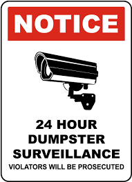 ansi z535 table 130 7 f 24 hour dumpster surveillance sign f8063 by safetysign com