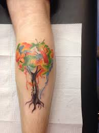 my first tattoo a watercolor tree by amanda pepper at thunderdome