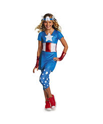 Ship Captain Halloween Costume American Dream Girls Teen Captain America Superhero Costume