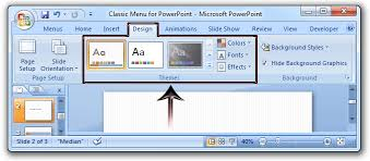 where is the themes in microsoft powerpoint 2007 2010 2013 and 2016