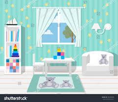 baby room furniture nursery interior flat stock vector 362392040