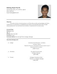 application letter sample ojt resume example format for ojt resume example format for ojt