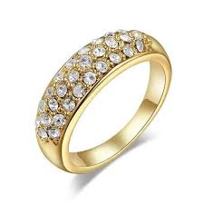 gold pave rings images On sale 18k gold pave austrian crystals band cocktail ring jpg