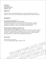 Quality Control Inspector Resume Sample by Health Inspector Cover Letter
