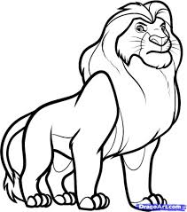 lion drawing for kids how to draw mufasa from lion king step step