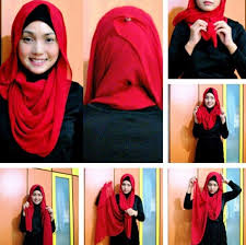 tutorial hijab pashmina kaos yang simple moda hijab terbaru