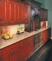 Rustic Kitchen Cabinets Kitchen Appealing Rustic Red Painted Kitchen Cabinets Rustic Red