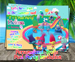 Invitation Card For Pool Party Personalized Trolls Pool Party Invite Trolls Birthday Party