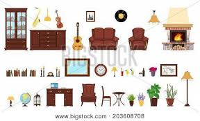 Home Design Bookcase Big Realistic Set Of Home Interior Setting Elements For Home
