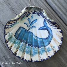 shell ornament kate mcrostie handpainted one of a kind whale
