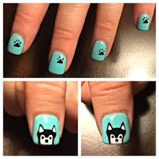 siberian husky nails done by michelle hand draw husky airbrush