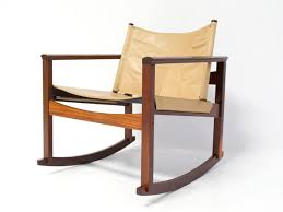 Mid Century Rocking Chair In Leather By Michel Arnoult Sold