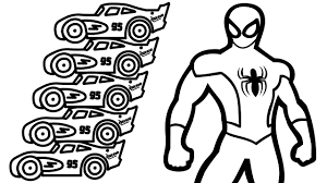 spiderman and color lightning mcqueen coloring book coloring pages
